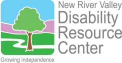 New RIver Valley Disability Resource Center - Growing Independence (Image Description: Green and brown tree illustration, with white pathway over green grass, with purple depicting mountains and blue depicting sky above that)